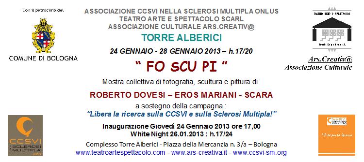 """""""FO SCU PI"""" mostra collettiva di pittura scultura fotografia con Dovesi, Mariani, Scara"""